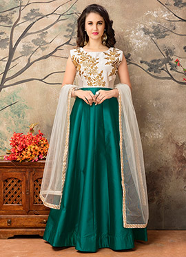 Teal Green N Off White Abaya Style Anarkali Suit