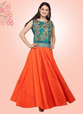 Teal Green N Orange Art Silk Gown