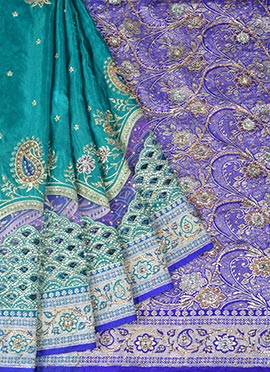 Teal Green N Royal Blue Benarasi Art Silk Saree