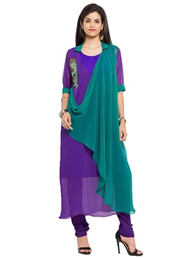 Teal Green N Violet Long Anarkali Kurti
