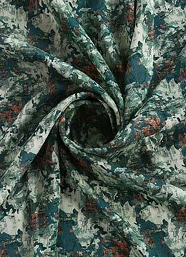 Teal Green N White Digital Printed Linen Georgette Fabric