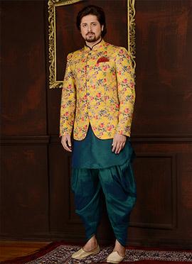 Teal Green N Yellow Art Benarasi Silk Achkan Sherwani