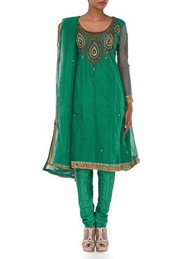 Teal Green Net Kalidar Suit