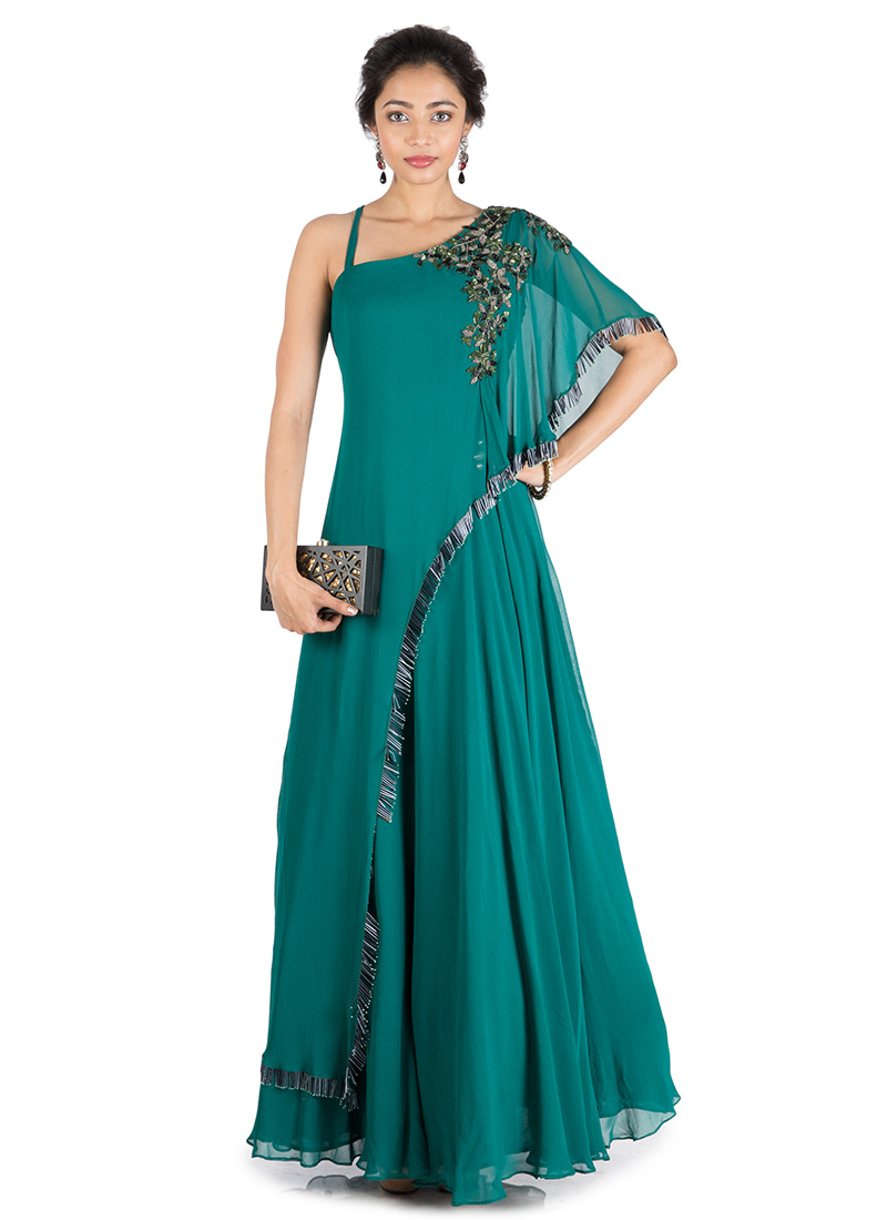 Teal Green One Side Cape Flared Gown