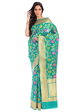 Teal Green Pure Handloom Benarasi Silk Saree