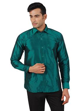 Teal Green Pure Raw Silk Shirt