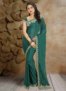 Teal Green Pure Crepe Border Saree