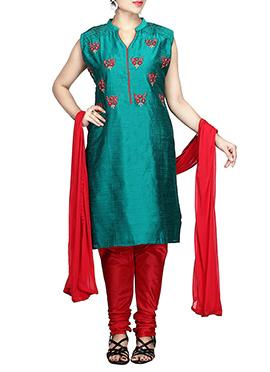 Teal Green Chanderi Pure Silk Cotton Churidar Suit
