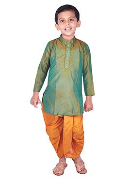 Teal Green Pure Silk Kids Dhoti Kurta