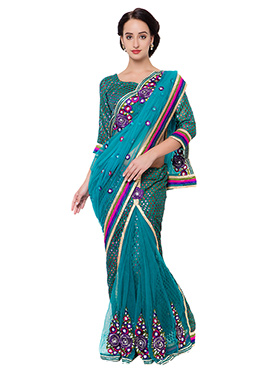 Teal Green Ready Pleated Saree