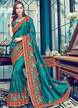 Teal Green Satin Silk Saree