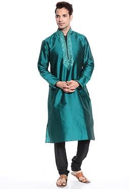 Teal Green Taffeta Kurta Pyjama