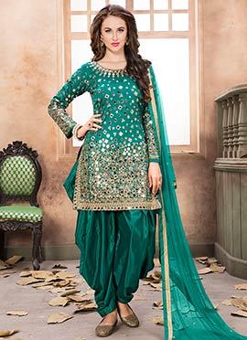 Teal Green Taffeta Salwar Suit