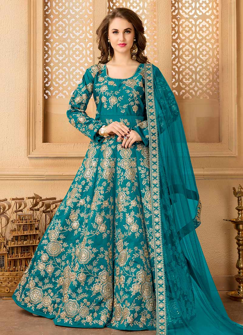 Buy Teal Green Taffeta Silk Abaya Style Anarkali Suit, Embroidered ...