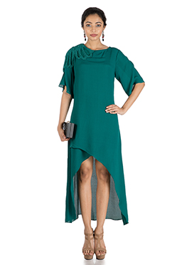 Teal Low N High Overlapping Dress