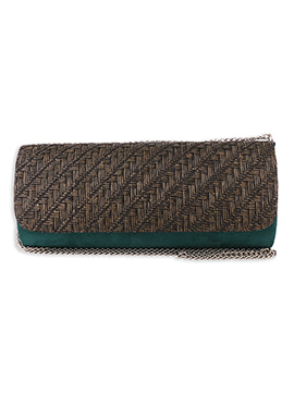 Teal N Brown Faux Leather Clutch