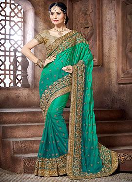 Teal N Green Crepe Silk Saree