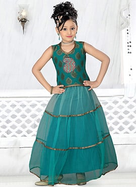 Teal Net Teens Lehenga Choli