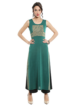 Teal Printed Long Kurti