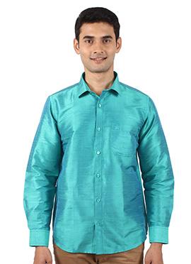 Teal Pure Dupion Silk Shirt