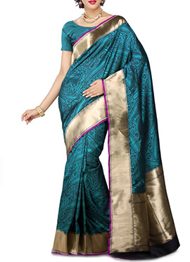 Teal Pure Silk Saree