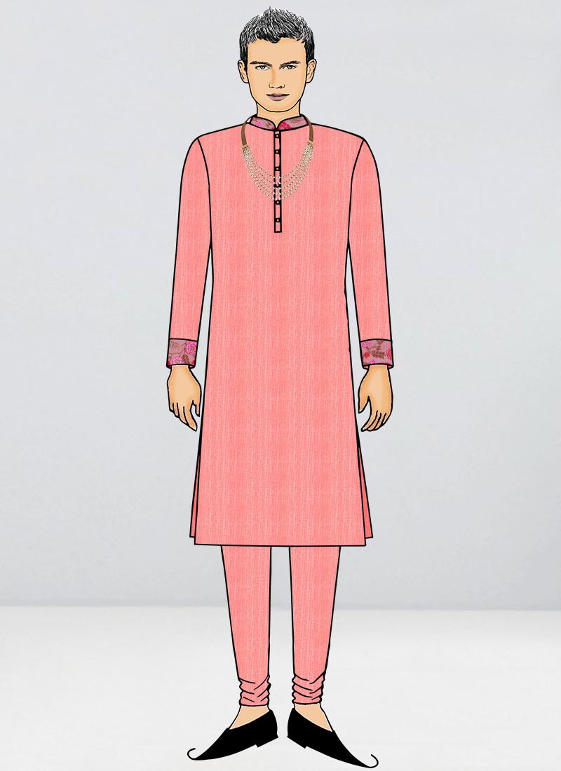 EthnoVogue Teen Boys Pink Embroidered Net Kurta Pyjama Set