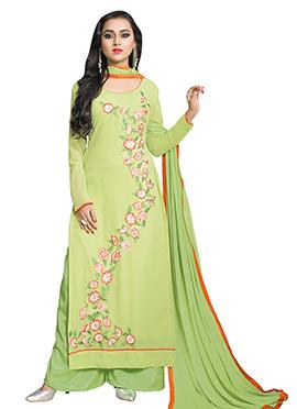 Tejaswi Prakash Wayangankar Green Palazzo Suit