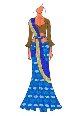 The Royal Blue Lehenga Saree With A Trendy Trumpet Sleeve Blouse.