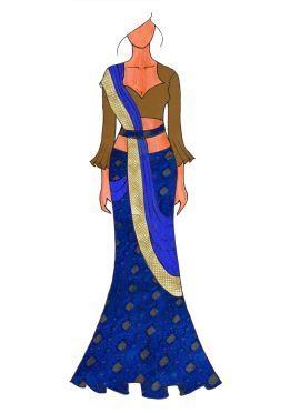 The Royal Blue Lehenga Saree With A Trendy Trumpet Sleeve Blouse