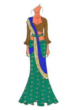 The Royal Blue Slub Green Lehenga Saree With A Trendy Trumpet Sleeve Blouse.