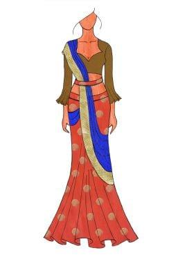 The Royal Blunt Orange Lehenga Saree With A Trendy Trumpet Sleeve Blouse.