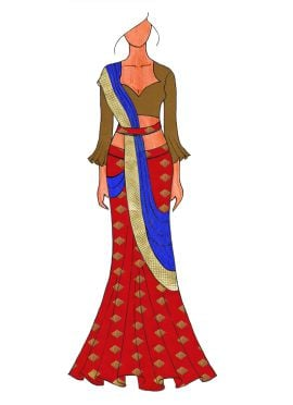 The Royal Red Lehenga Saree With A Trendy Trumpet Sleeve Blouse.