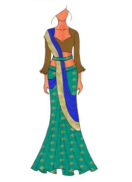 The Royal Turquoise Lehenga Saree With A Trendy Trumpet Sleeve Blouse.