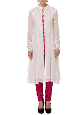 Tiaraa Off White Pure Silk Anarkali Set