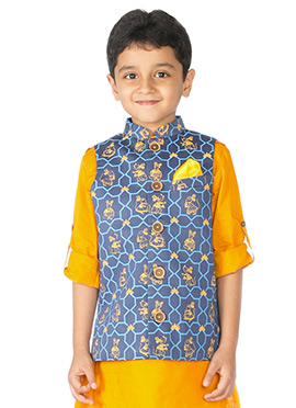 Tiber Taber Blue Kids Nehru Jacket