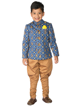 Tiber Taber Blue N Brown Kids Bandhgala Set