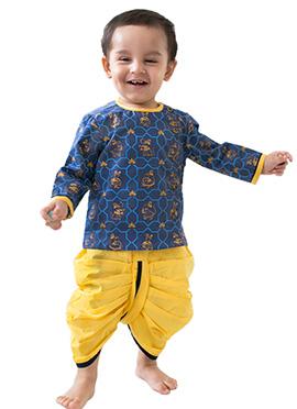 Tiber Taber Blue N Yellow Kids Dhoti Kurta