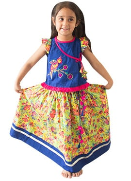 Tiber Taber Blue N Yellow Kids Lehenga Choli