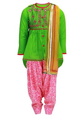 Tiber Taber Green N Pink Kids Salwar Kameez