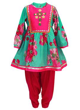 Tiber Taber Green N Red Kids Anarkali Suit