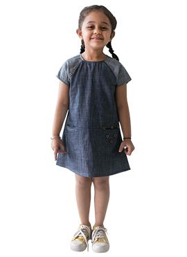 Tiber Taber Greyish Blue Kids Dress