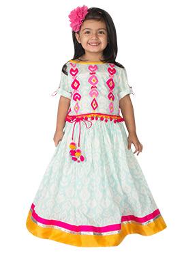 Tiber Taber Light Blue N Pink Kids Skirt Set