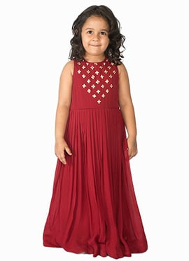 Tiber Taber Maroon Kids Gown