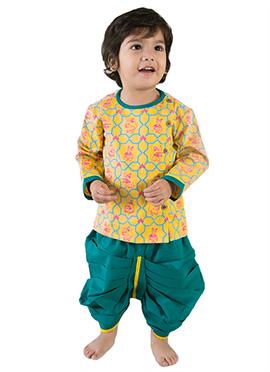 Tiber Taber Mustard N Teal Blue Kids Dhoti Kurta