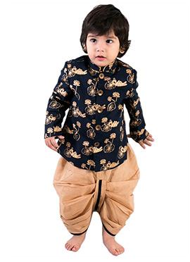 Tiber Taber Navy Blue N Gold Kids Bandhagala Dhoti