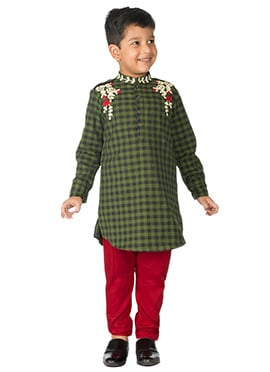 Tiber Taber Olive Green Kids Kurta Pyjama