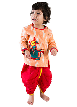 Tiber Taber Orange N Red Kids Dhoti Kurta