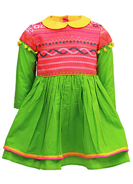Tiber Taber Pink N Green Kids Dress