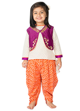 Tiber Taber Purple N Off White Kids Salwar Kameez