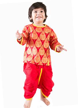 Tiber Taber Red Kids Dhoti Kurta
